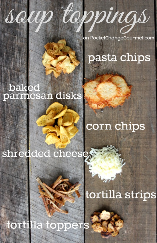 Jazz up your boring soup with one of these easy to make Soup Toppings! Pin to your Recipe Board!