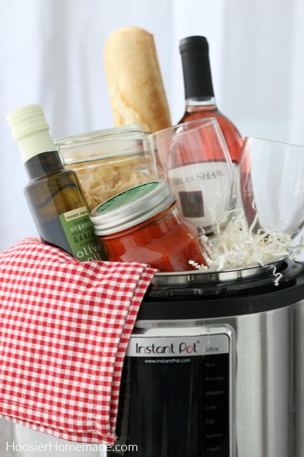 Instant Pot filled with Italian Dinner supplies