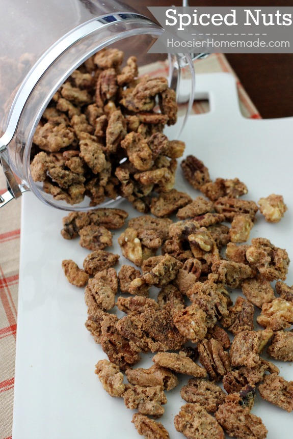 These Spiced Nuts have a hint of sweetness and crunch. They make a perfect homemade gift for the holidays! Pin to your Recipe Board!
