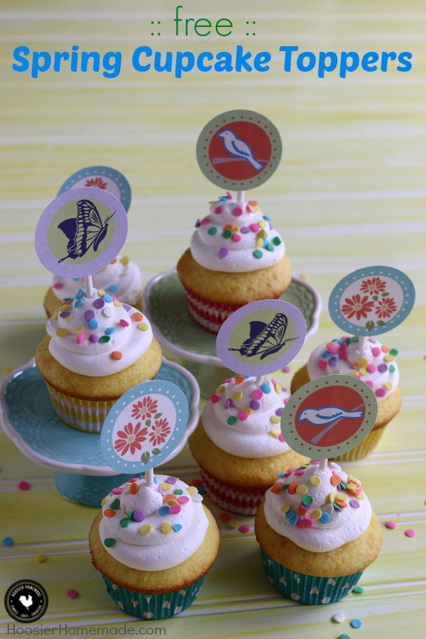 Grab your FREE Printable Spring Cupcake Toppers! Perfect for all your Spring Celebrations and Mother's Day! Be sure to save them by pinning to your Cupcake Board!