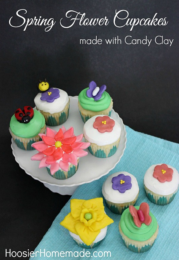 Learn how to make these beautiful Spring Flower Cupcakes using candy clay - it's like fondant but taste a LOT better! Step-by-step instructions with photos included!