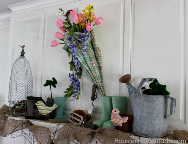 Spring Mantel Decorations from HoosierHomemade.com