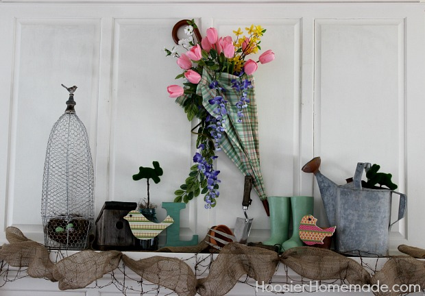 Spring Mantel Decorations from HoosierHomemade.com