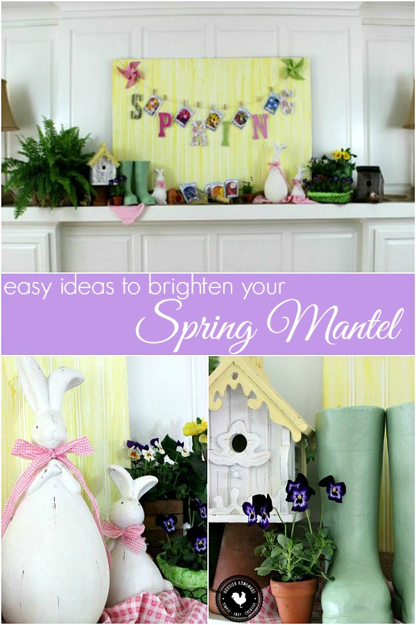 Brighten your Spring Mantel with these easy ideas! Add a bit of color with fresh plants! And a bit of whimsy with cute bunnies! Pin to your Decorating Board!