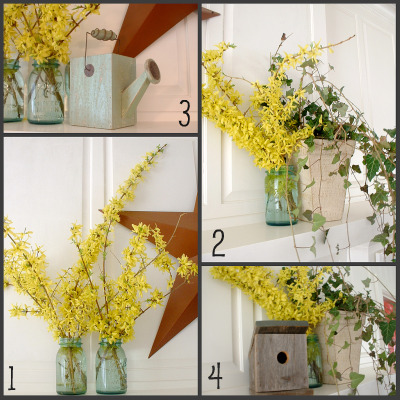 Spring Mantle ~ Decorating with Nature - Hoosier Homemade