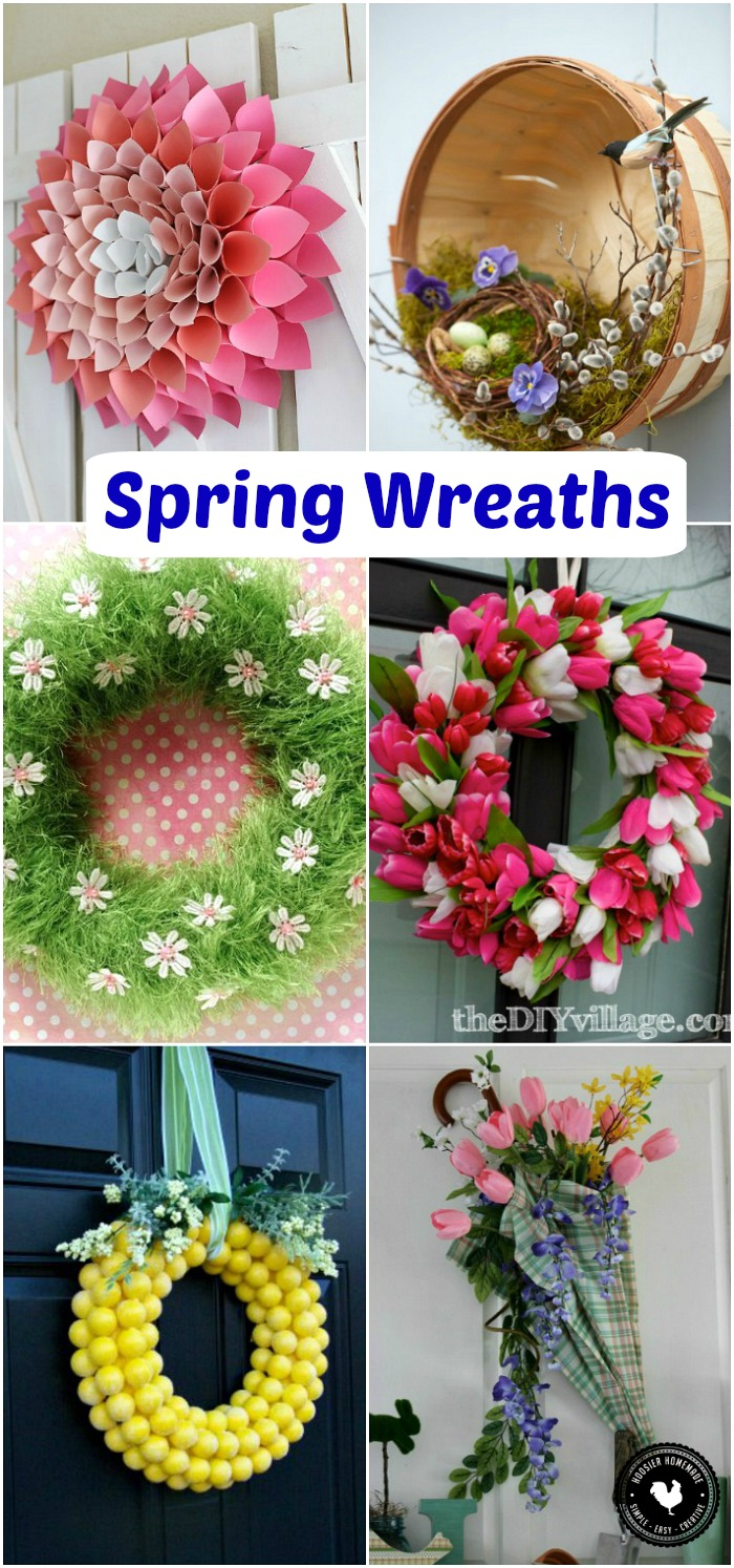 Brighten your home with one of these easy to make Spring Wreaths! 23 of your favorite Spring Decorating ideas! Be sure to save to your Decorating Board!
