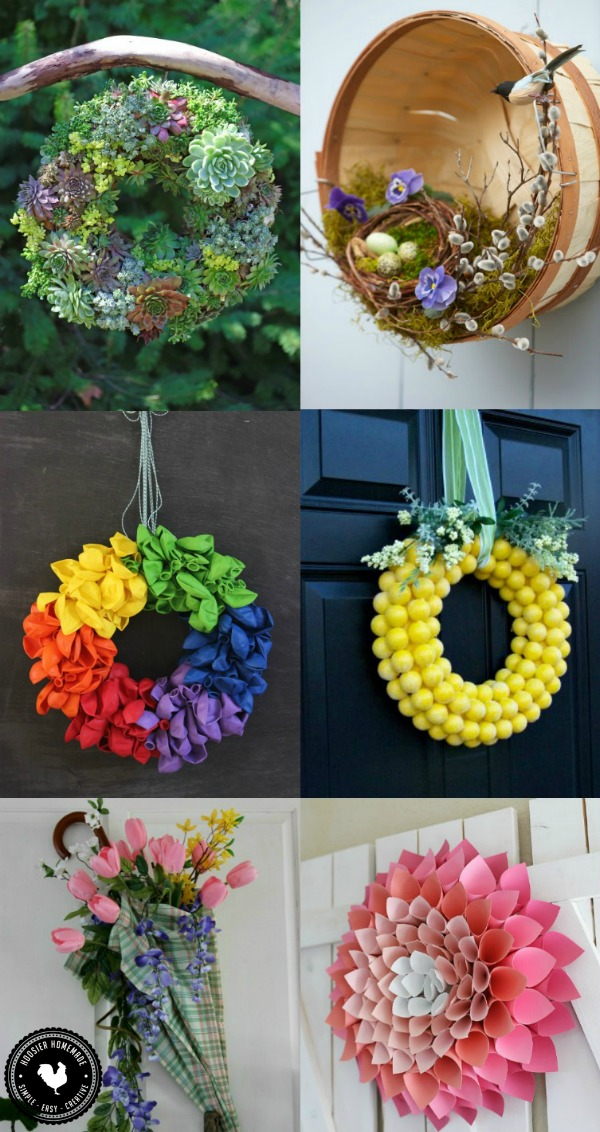 Brighten your home with one of these easy to make Spring Wreath Ideas! Spring Decorating never looked so good!