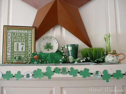 St patrick 39 s day mantel subway art and garland hoosier for St patricks day decorations for the home