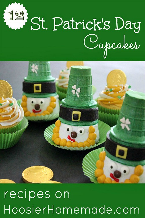 St. Patrick's Day Cupcakes - darling Leprechauns, Rainbow, Irish Cream, Grasshopper, FREE Printable Cupcake Toppers and more! Pin to your St. Patrick's Day Board!
