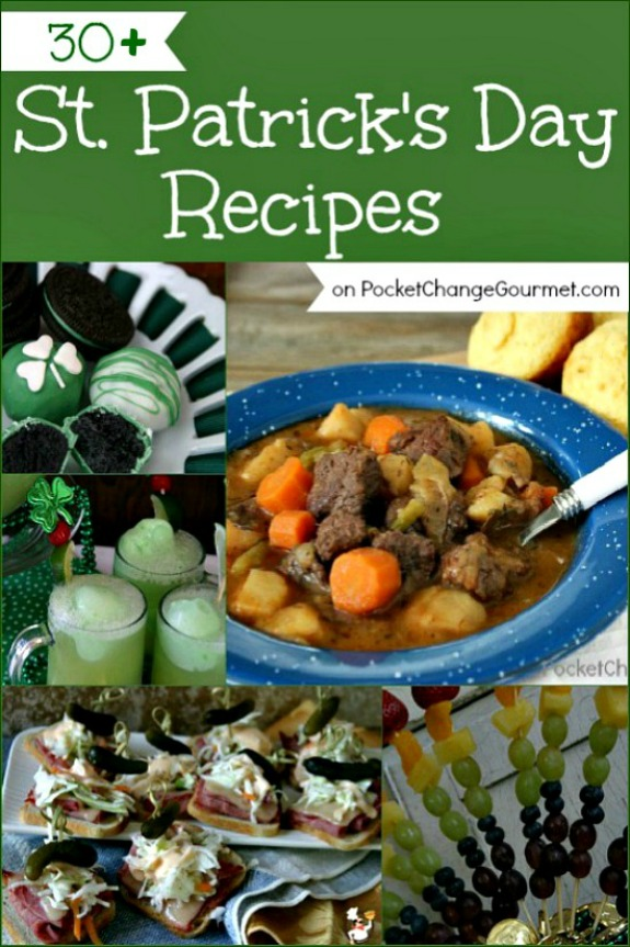 Cook up a fun dinner for St. Patrick's Day! Recipes for Appetizers, Main Dishes, Sides, Drinks and Dessert! Pin to your Recipe Board!