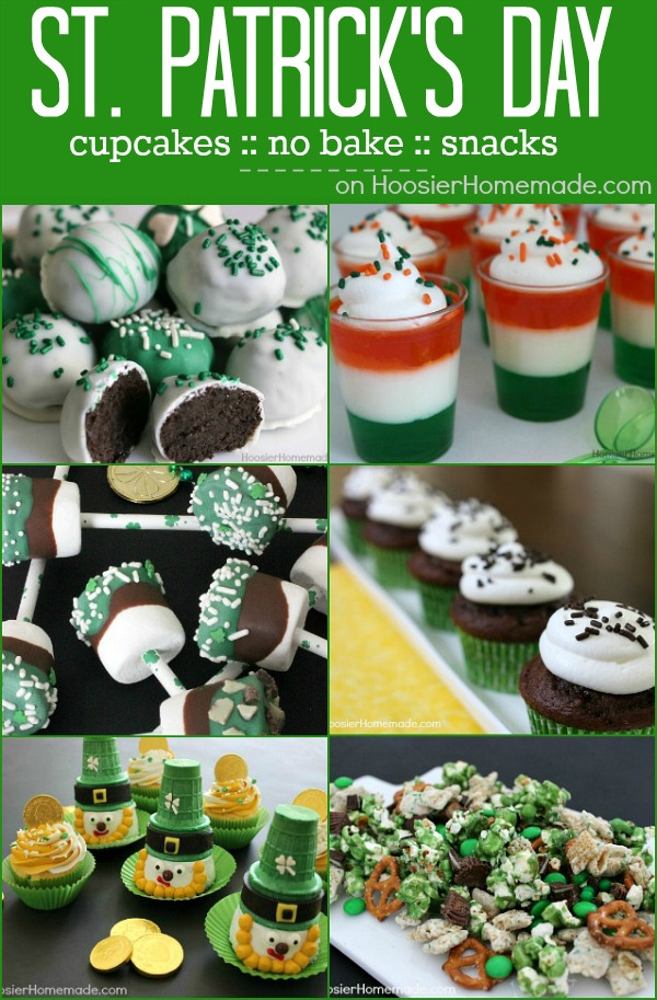 St. Patrick's Day Treats and Dessert! Cupcakes, No Bake, Easy to make treats for your family or St. Patrick's Day Party! Pin to your St. Patrick's Day Board!