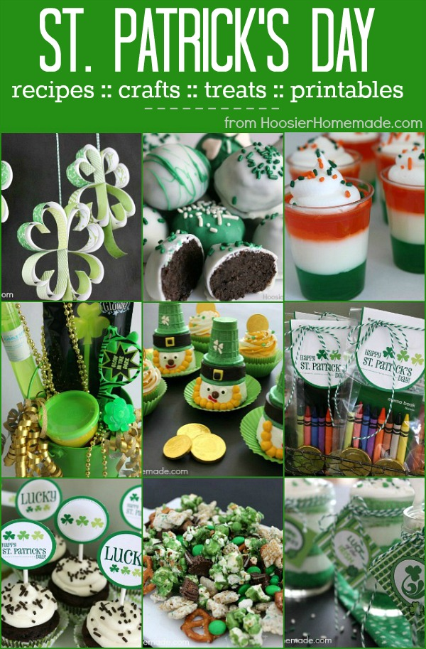 St. Patrick's Day Recipes, Crafts, Treats, Printables and more! Grab a recipe or 2 and whip up a fun treat for the family, do a craft with the kids, or give a fun filled bucket to a friend. Pin to your St. Patrick's Day Board!
