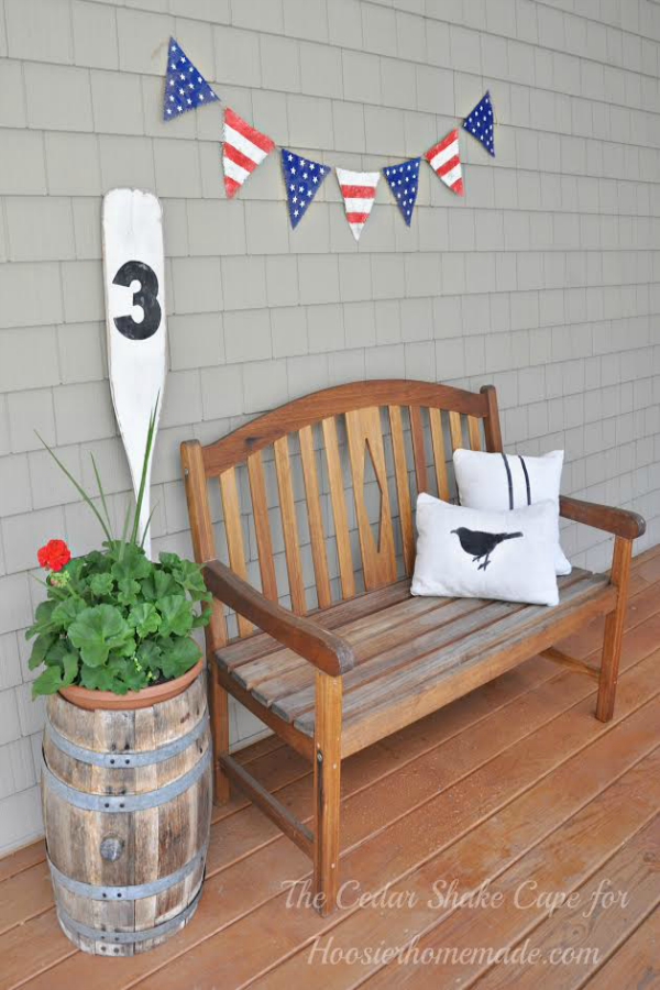Create this Stars and Stripes Burlap Banner with just a few simple supplies, some you may have already at home. Perfect for Memorial Day or 4th of July Decorations. Be sure to save it by pinning to your Craft Board!