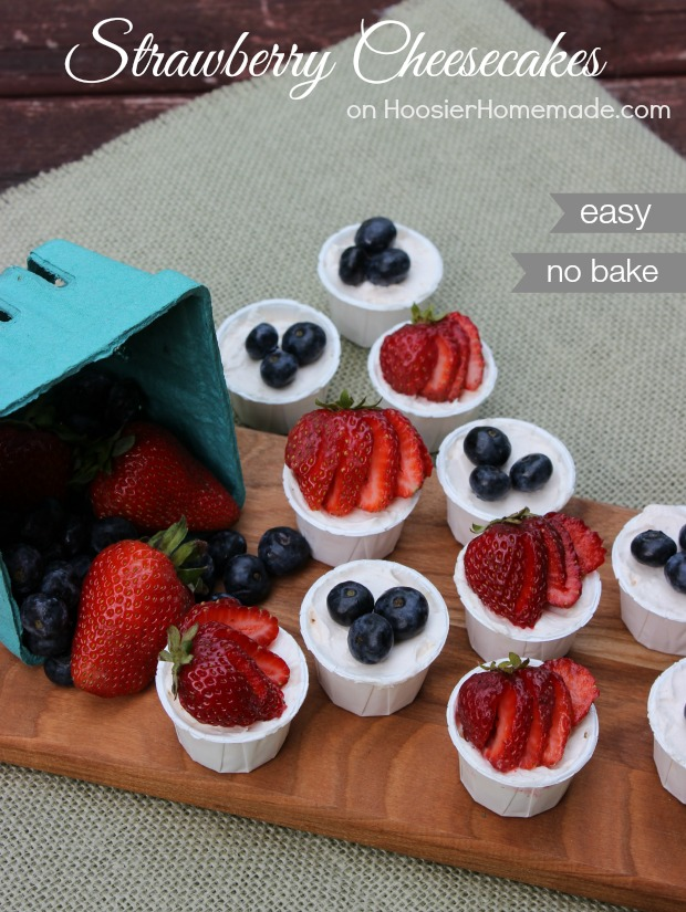 Easy No Bake Strawberry Cheesecakes   Recipe on HoosierHomemade.com