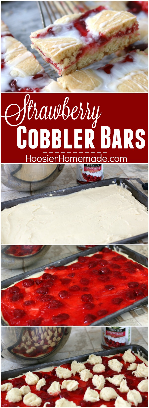 These Strawberry Cobbler Bars will knock your socks OFF! They are super simple to make and taste amazing! Serve them for any occasion, take them to a potluck or easy enough for a weeknight dessert!