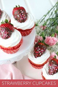 Strawberry Cupcakes with Chocolate Dipped Strawberries