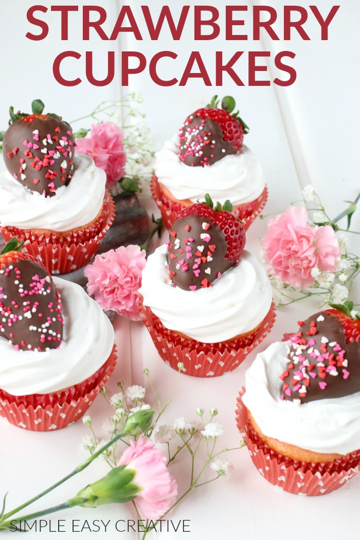Strawberry Cupcakes with Marshmallow Frosting
