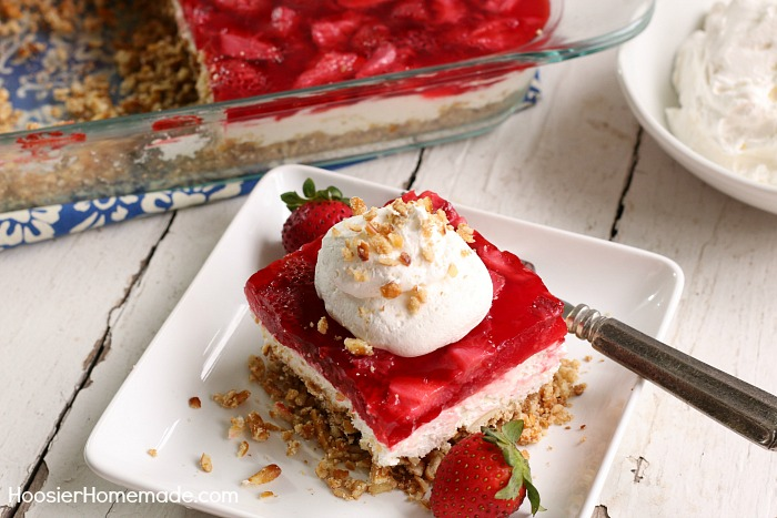 STRAWBERRY PRETZEL SALAD -- This crowd pleasing salad may be more like Strawberry Pretzel Dessert! Make it and decide for yourself!