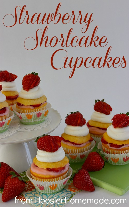 Strawberry Shortcake Cupcakes :: Recipe on HoosierHomemade.com