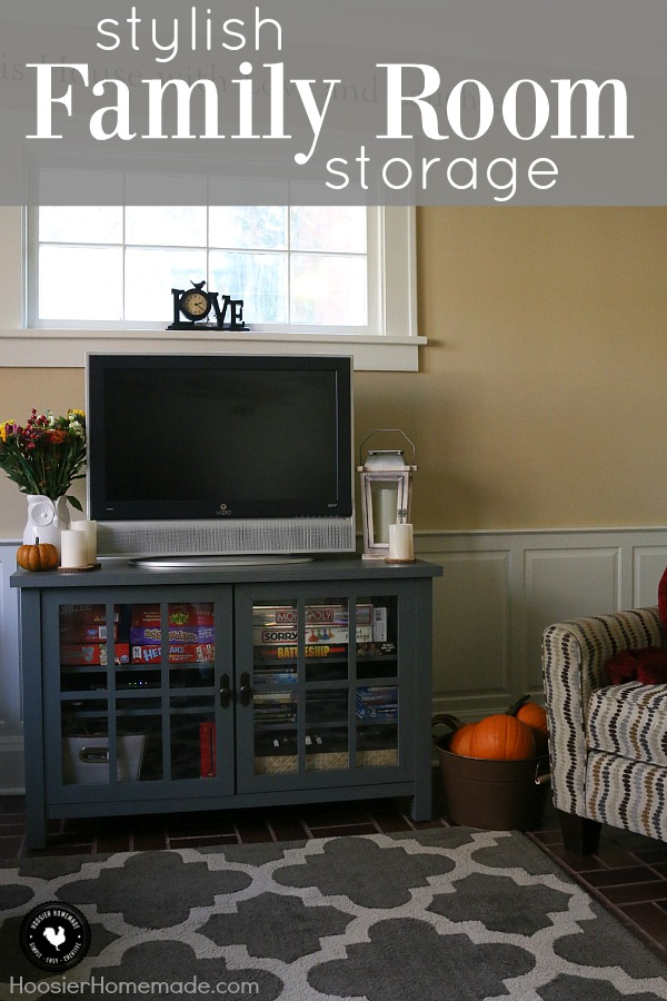 Creating a comfortable home that is organized yet stylish looking doesn't need to cost a lot of money. This Stylish Family Room Storage and TV Stand is perfect! The gray-blue color goes great with any decor.