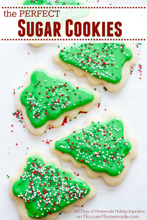 Add these Sugar Cookies Recipe to your holiday baking list! They are the PERFECT sugar cookie for cut outs! Visit our 100 Days of Homemade Holiday Inspiration for more recipes, decorating ideas, crafts, homemade gift ideas and much more!