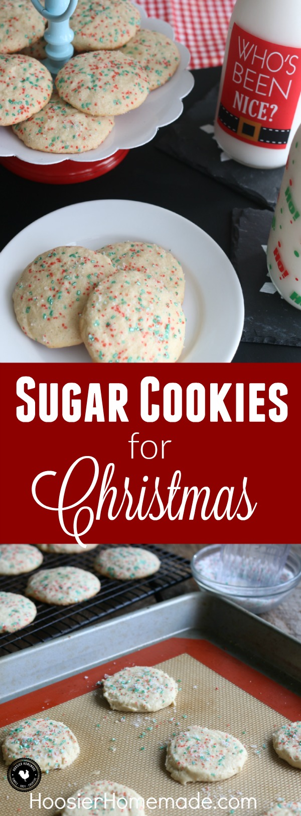 These classic Sugar Cookies for Christmas are soft, chewy and oh so delicious! Add red and green sugar to them for Christmas, change the color for another holiday or leave it off for the perfect sugar cookie recipe!