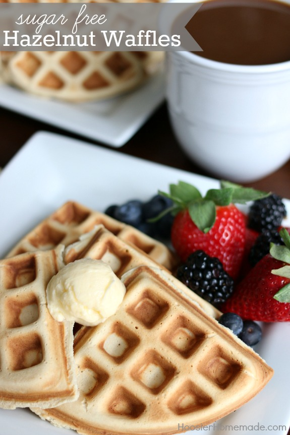 Sugar Free Hazelnut Waffles - a light fluffy waffle with delicious Hazelnut flavor. You will never know they are Sugar Free! Pin to your Recipe Board!