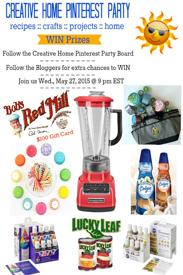 Join us on Wed. May 27th, at 9 p.m EST to celebrate Summer and win prizes too! Prizes from KitchenAid, $100 Gift Card from Bob's Red Mill, Wilton, Duck Tape, Sweets & Treats Boutique, Lucky Leaf, and International Delight. Follow the Creative Home Pinterest Party Board!