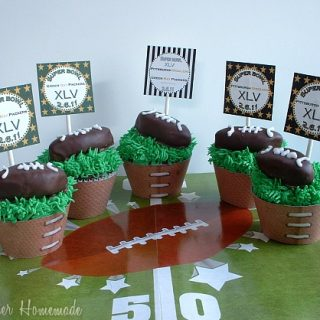 Football Cupcakes with Peanut Butter Truffles