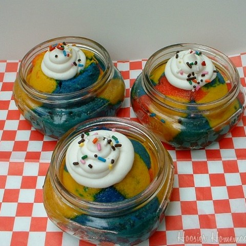 Superman Ice Cream Cupcakes in a Jar