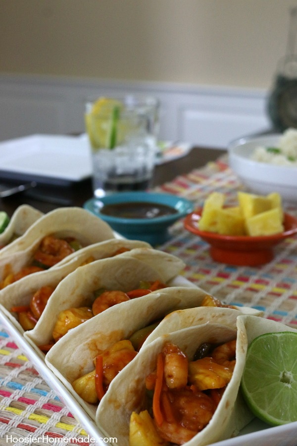 SWEET AND SOUR SHRIMP TACOS -- Dinner is FAST with these shrimp tacos! On the table in under 30 minutes! And the kids will love them too!