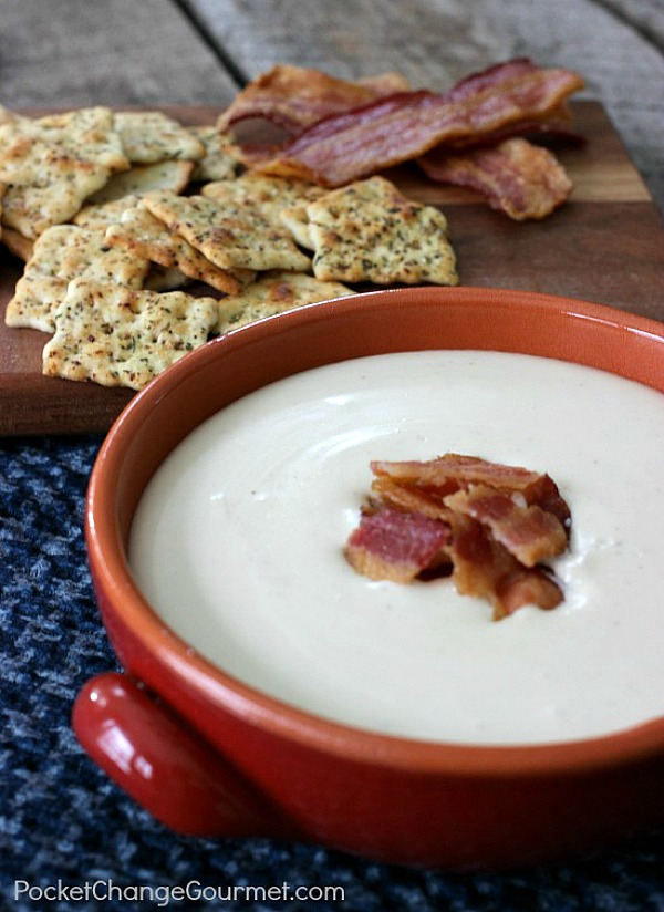 Swiss, Bacon & Beer Dip | Recipe on PocketChangeGourmet.com
