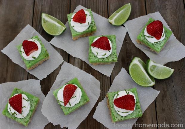 Tangy Lime Bars :: Recipe on HoosierHomemade.com