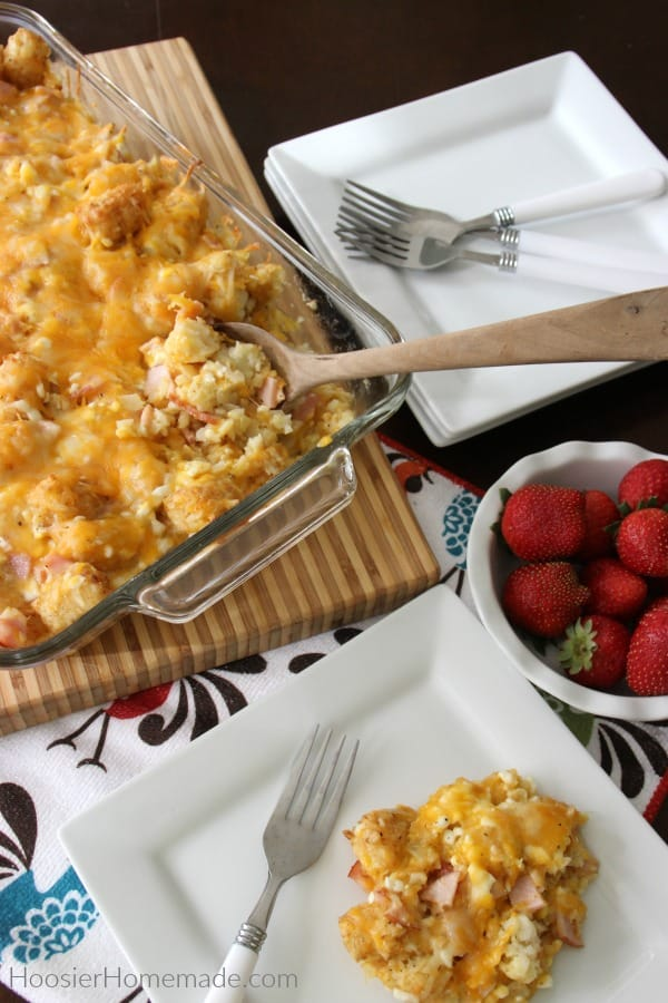 Tater Tot Breakfast Casserole on plate with strawberries