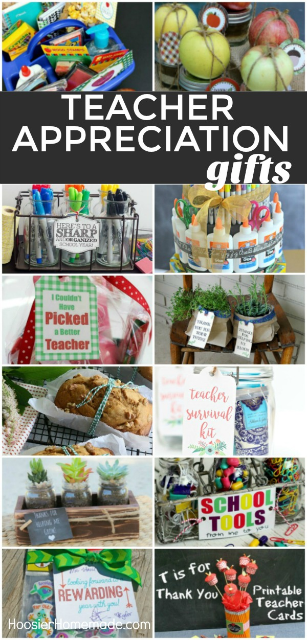 TEACHER APPRECIATION GIFTS -- Show your teacher how much you care! Make them one of these SIMPLE gifts! From supplies - to food gifts - to something personal! There is something here for every teacher!