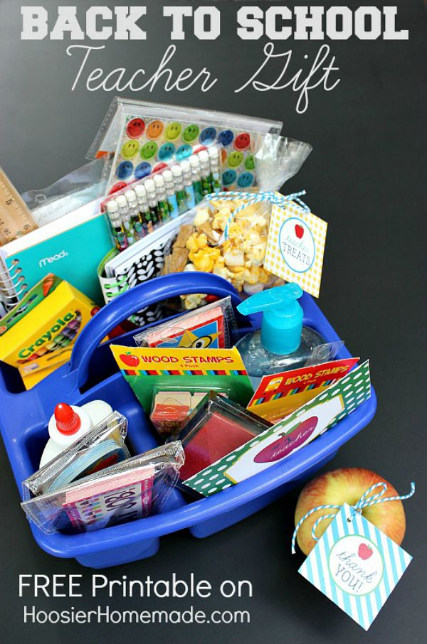 Surprise the teacher with a fun little gift! Pack a container with lots of supplies and treats! Grab your FREE Printables to go with it! Click on the Photo for inspiration and printable!