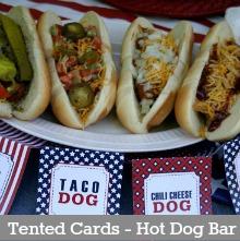 Tented Cards-Hot Dog Bar