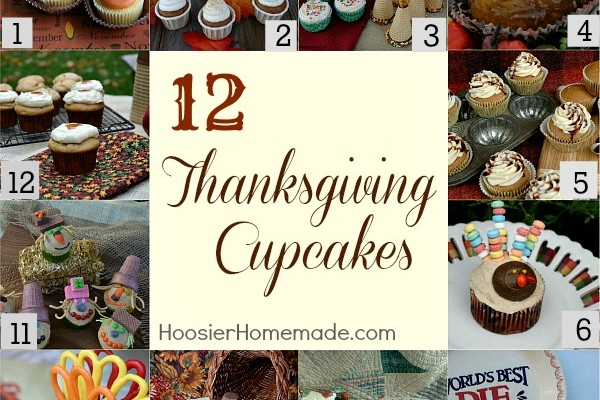 12 Thanksgiving Cupcakes on HoosierHomemade.com