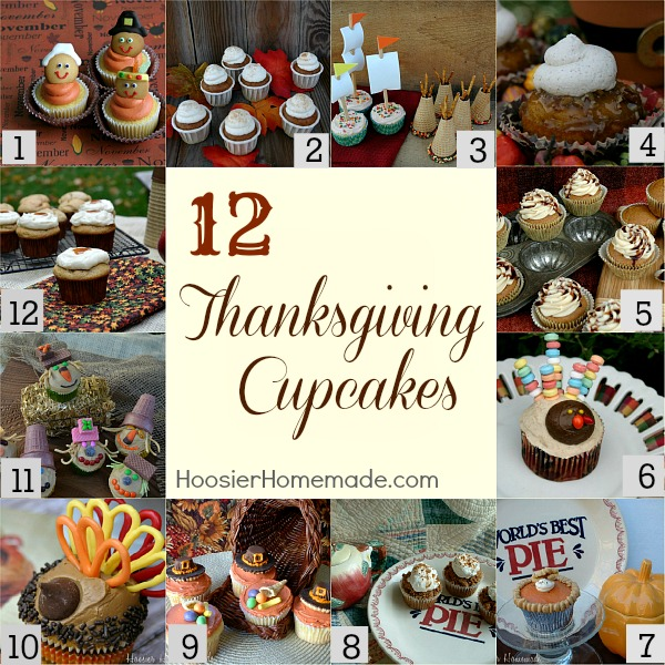 12 thanksgiving cupcakes printables hoosier homemade for Decorations for thanksgiving cupcakes