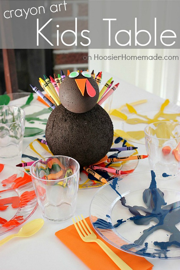 Create this fun Thanksgiving Kiddie Table Centerpiece for the kids to enjoy during their Thanksgiving Dinner! With just a few simple supplies, the kids will LOVE helping you make this Thanksgiving Tom the Turkey Centerpiece complete with crayons!