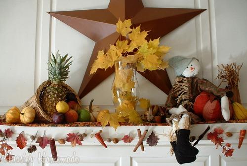 Thanksgiving mantle hoosier homemade for Homemade thanksgiving decorations for the home