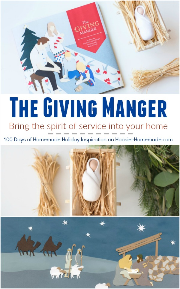 Bring the true meaning of Christmas back into your home with The Giving Manger! A fun + interactive Christmas tradition that helps families focus on giving, the true meaning of Christmas and the spirit of service. Visit our 100 Days of Homemade Holiday Inspiration for more recipes, decorating ideas, crafts, homemade gift ideas and much more!
