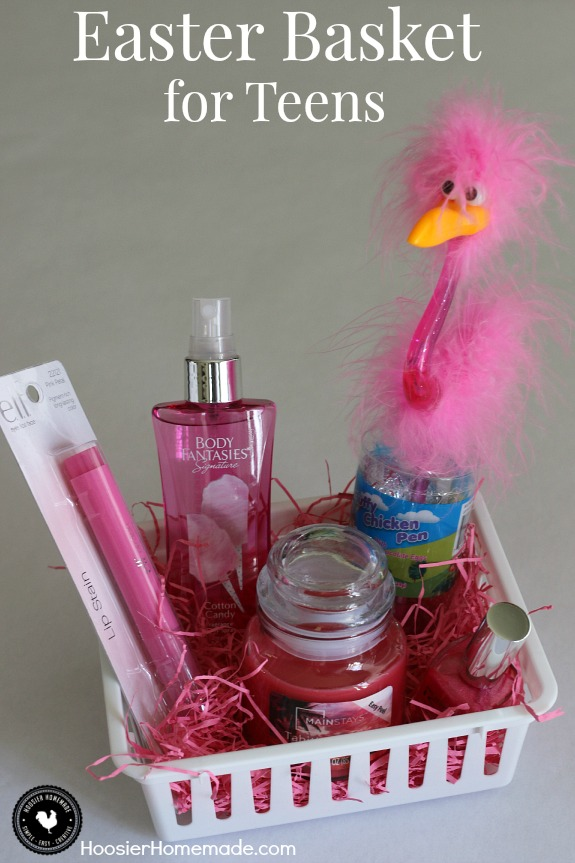 Easter basket ideas for children hoosier homemade fill a small themed easter basket for teens filled with pretty pink items perfect for negle
