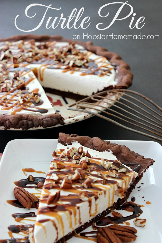 Turtle Pie : Chocolate Cake Mix Pie Crust filled with No Bake Cream Cheese filling, and topped with caramel, hot fudge and pecans! Recipe on HoosierHomemade.com