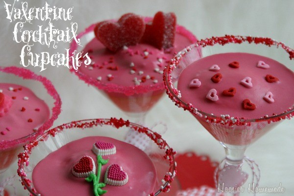Valentine's Day Cocktail Cupcakes :: Recipe on HoosierHomemade.com