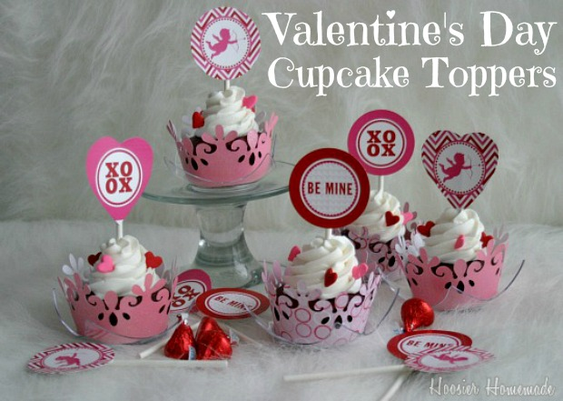 Valentine's Day Cupcake Toppers :: HoosierHomemade.com