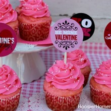 Free Printable Valentine Cupcake Toppers :: Available on HoosierHomemade.com