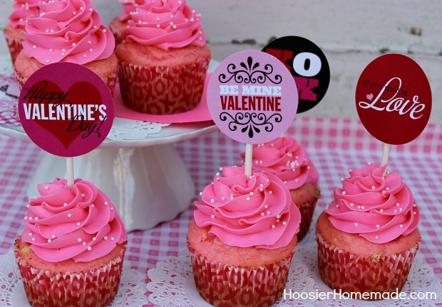 Printable Valentine's Day Cupcake Toppers :: Available on HoosierHomemade.com
