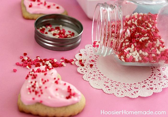 Sprinkles on Valentine Sugar Cookies