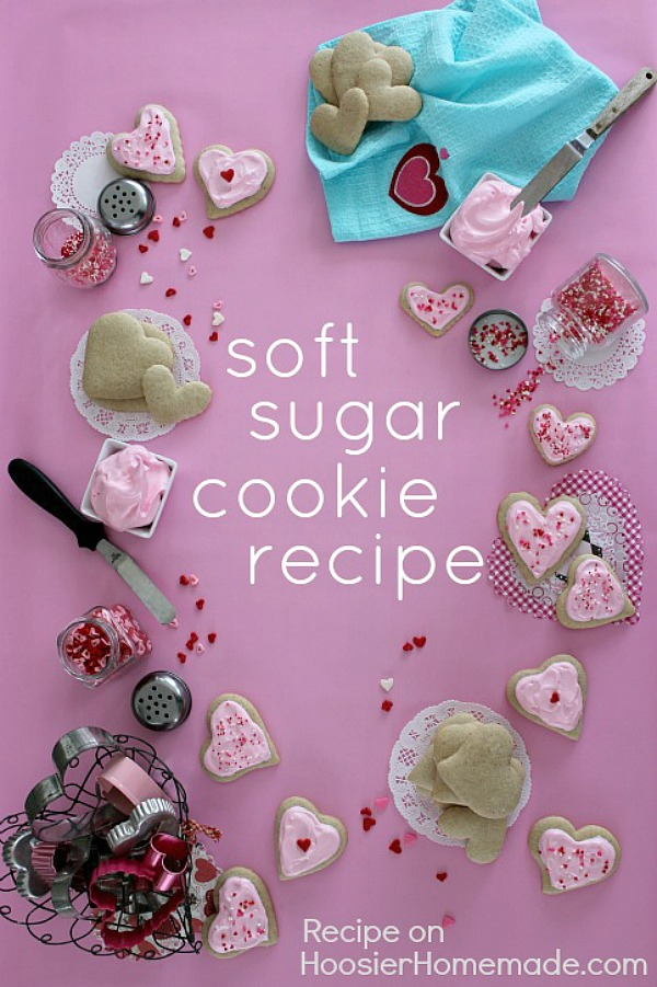 Whip up a batch of these Valentine Sugar Cookies! Once you try this Sugar Cookie Recipe, you will NEVER use another one! It's soft, full of flavor and delicious!